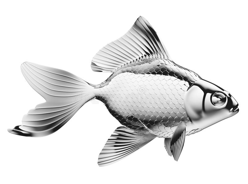 Ασημένια ψάρια με τα πτερύγια και κλίμακες που απομονώνονται διανυσματική απεικόνιση