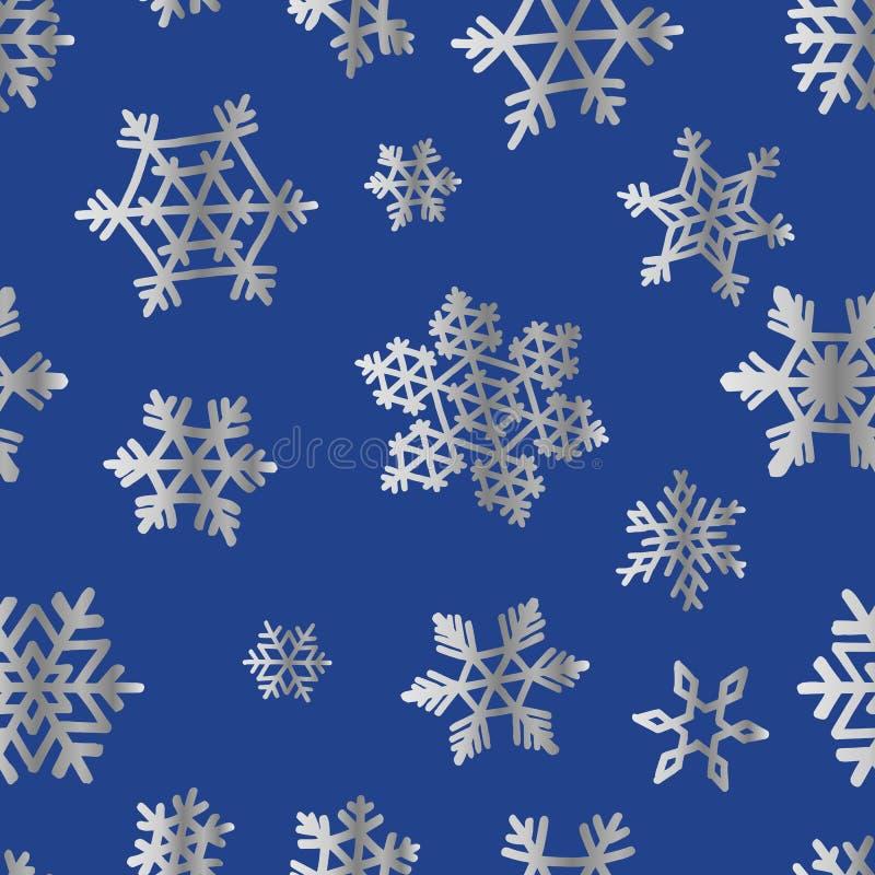 Ασημένια snowflakes στο μπλε για το σχέδιο κιβωτίων δώρων Χριστουγέννων papper διανυσματική απεικόνιση