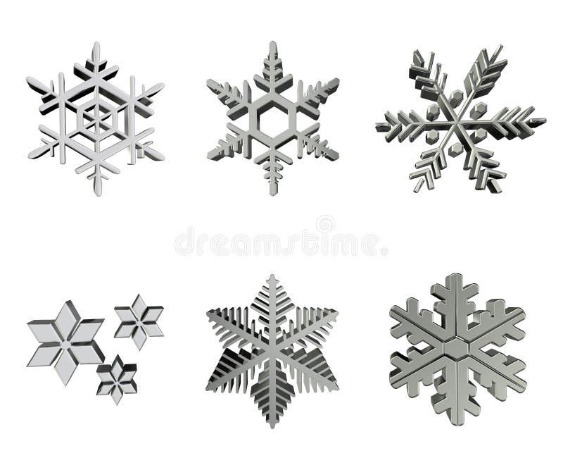 ασημένια snowflakes διανυσματική απεικόνιση