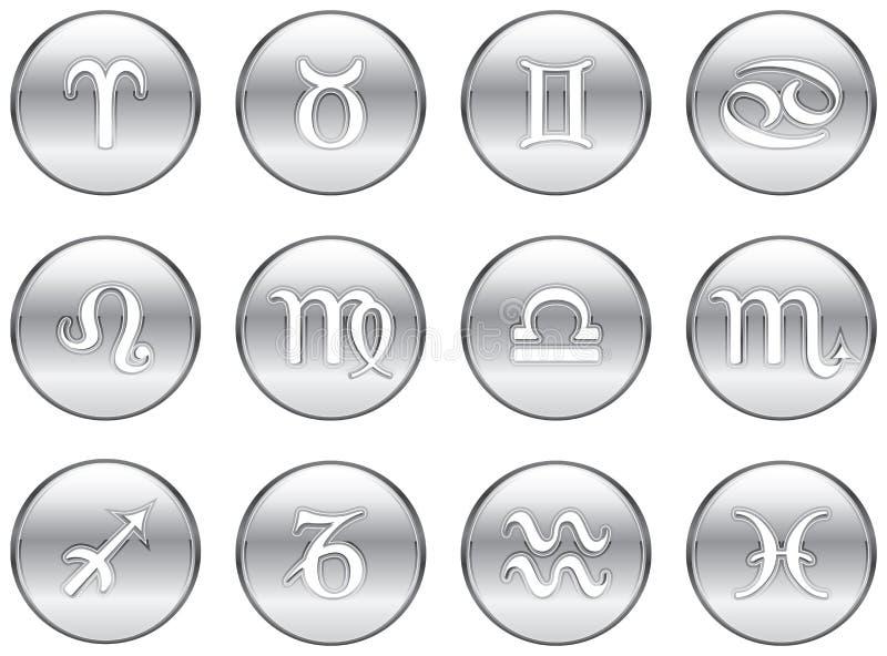 Ασημένια zodiac σημάδια διανυσματική απεικόνιση