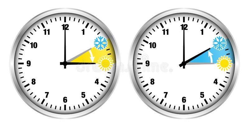 Ασημένιοι αριθμοί θερινού χρόνου ρολογιών και και μικροί εικονίδια χειμώνα ελεύθερη απεικόνιση δικαιώματος