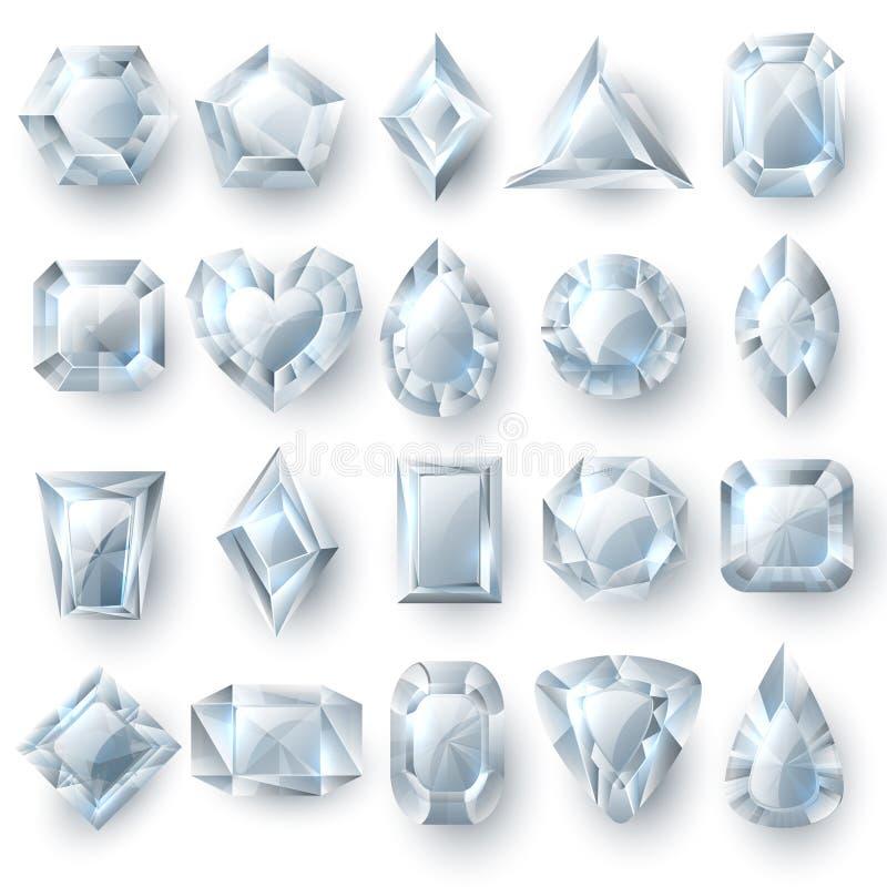 Ασημένιοι πολύτιμοι λίθοι διαμαντιών, τέμνον διανυσματικό σύνολο κοσμημάτων πετρών που απομονώνεται στο άσπρο υπόβαθρο διανυσματική απεικόνιση