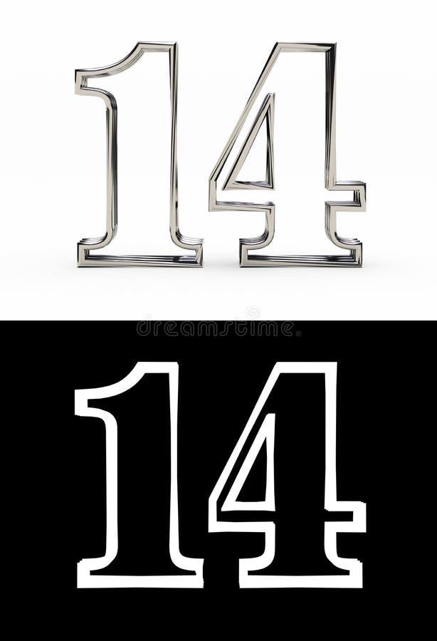Ασημένιος αριθμός δεκατέσσερα έτη ελεύθερη απεικόνιση δικαιώματος