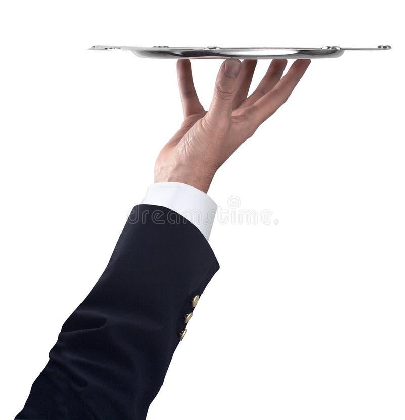 ασημένιος δίσκος χεριών β& στοκ φωτογραφία με δικαίωμα ελεύθερης χρήσης