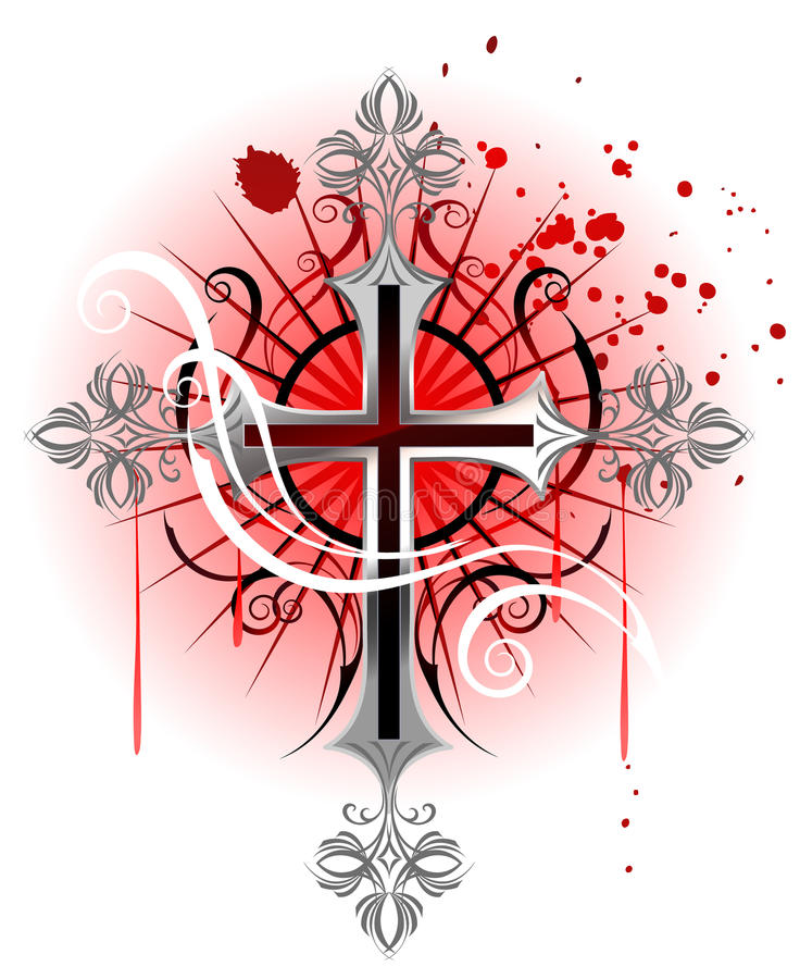 Ασημένιος σταυρός σε μια άσπρη ανασκόπηση διανυσματική απεικόνιση
