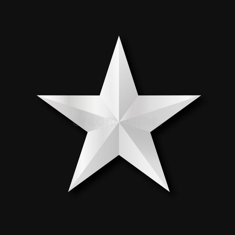 Ασημένιος τρισδιάστατος αστεριών απεικόνιση αποθεμάτων