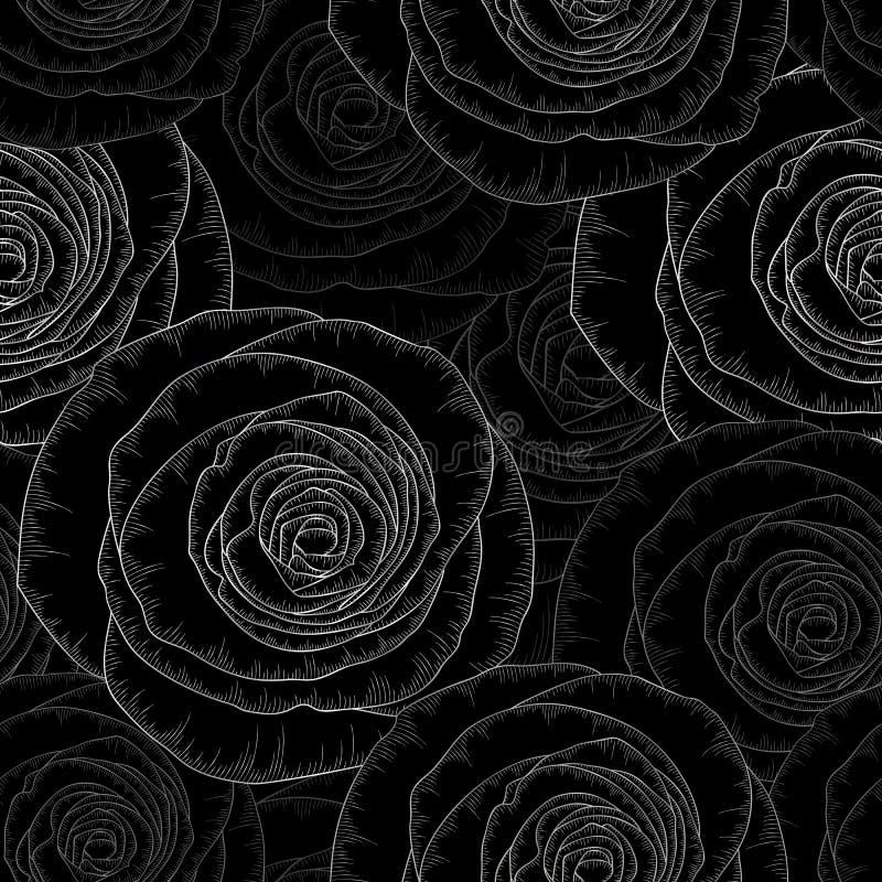 Ασημένιο άνευ ραφής floral υπόβαθρο χέρι-σχεδίων με τα χρυσά τριαντάφυλλα λουλουδιών επίσης corel σύρετε το διάνυσμα απεικόνισης στοκ φωτογραφίες