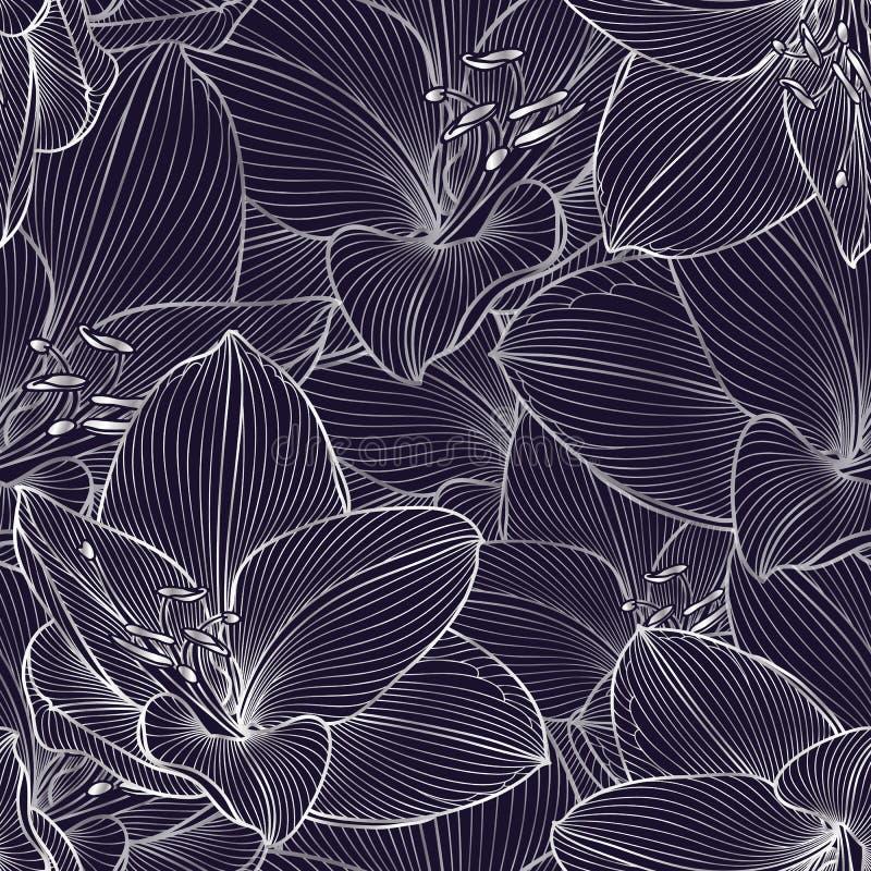 Ασημένιο άνευ ραφής floral υπόβαθρο χέρι-σχεδίων με τα amaryllis λουλουδιών επίσης corel σύρετε το διάνυσμα απεικόνισης στοκ φωτογραφία με δικαίωμα ελεύθερης χρήσης