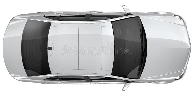 Ασημένιο αυτοκίνητο - τοπ άποψη απεικόνιση αποθεμάτων