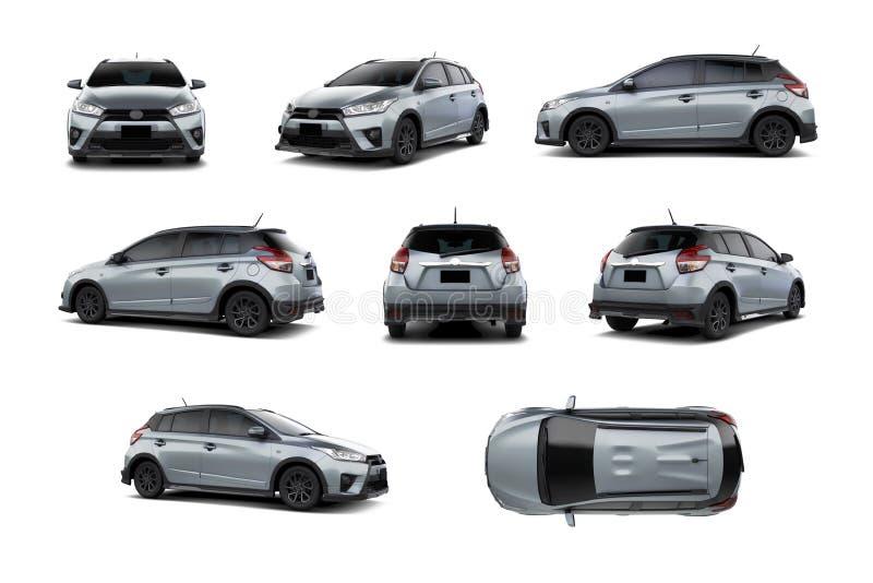 Ασημένιο αυτοκίνητο 5 Subcompact ποικιλία Hatchback πορτών των γωνιών στοκ φωτογραφία με δικαίωμα ελεύθερης χρήσης
