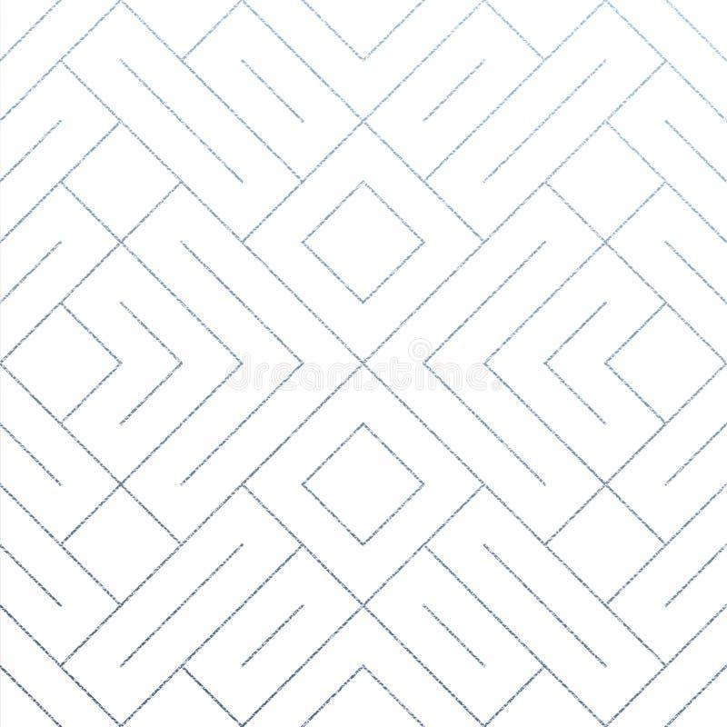Ασημένιο αφηρημένο γεωμετρικό υπόβαθρο κεραμιδιών σχεδίων με την ακτινοβολώντας σύσταση πλέγματος Διανυσματικό άνευ ραφής σχέδιο  διανυσματική απεικόνιση