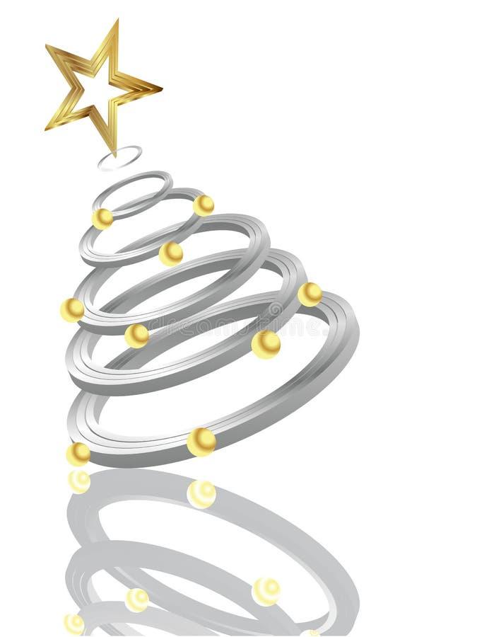 ασημένιο δέντρο Χριστουγέ διανυσματική απεικόνιση