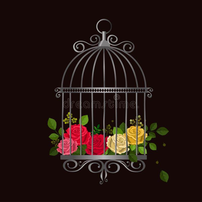 Ασημένιο εκλεκτής ποιότητας κλουβί πουλιών με τα πολύχρωμα τριαντάφυλλα ελεύθερη απεικόνιση δικαιώματος