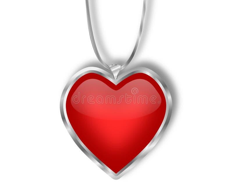 Ασημένιο και κόκκινο κρεμαστό κόσμημα καρδιών διανυσματική απεικόνιση