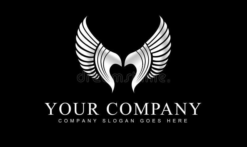Ασημένιο λογότυπο φτερών διανυσματική απεικόνιση