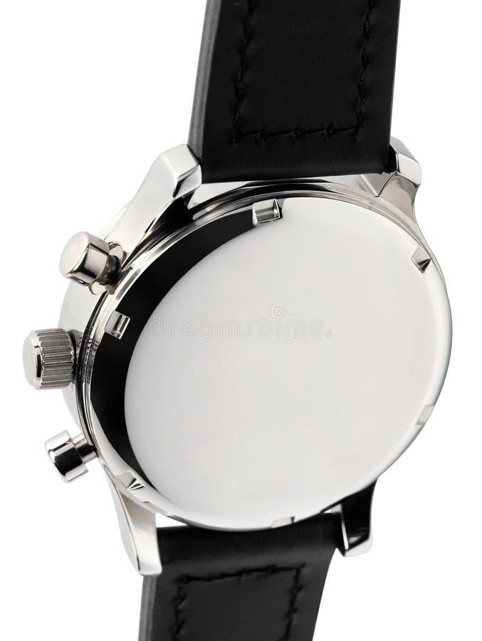 Ασημένιο μέταλλο wristwatch με το μαύρο λουρί στοκ εικόνες με δικαίωμα ελεύθερης χρήσης