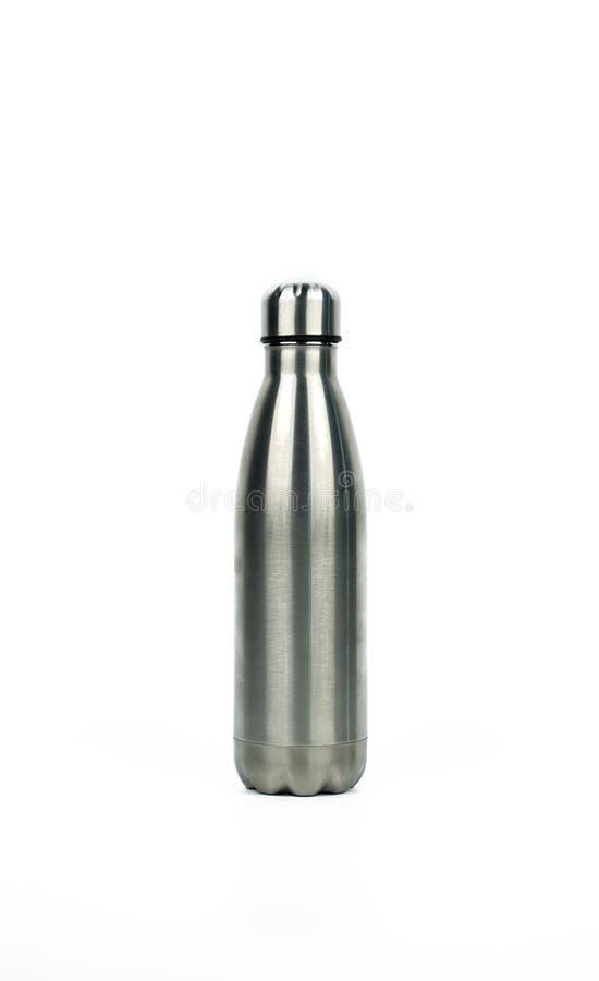 Ασημένιο μπουκάλι thermos με το αθλητικό σχέδιο που απομονώνεται στο άσπρο υπόβαθρο στοκ εικόνα με δικαίωμα ελεύθερης χρήσης