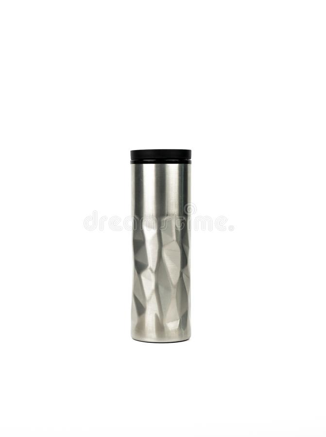 Ασημένιο μπουκάλι thermos με το σύγχρονο σχέδιο που απομονώνεται στο άσπρο υπόβαθρο στοκ φωτογραφίες με δικαίωμα ελεύθερης χρήσης