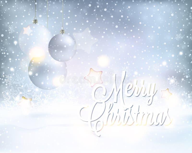 Ασημένιο μπλε υπόβαθρο Χριστουγέννων με τα μπιχλιμπίδια και τις χιονοπτώσεις διανυσματική απεικόνιση