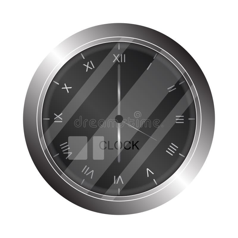 Ασημένιο ρολόι τοίχων μετάλλων στο άσπρο υπόβαθρο διανυσματική απεικόνιση