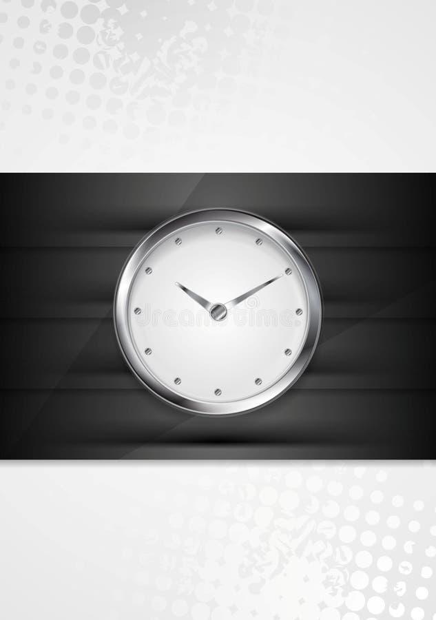 Ασημένιο ρολόι τοίχων στα μαύρα λωρίδες διανυσματική απεικόνιση
