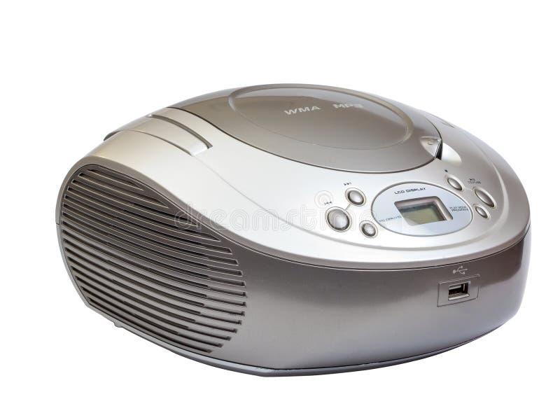 Ασημένιο στερεοφωνικό ραδιο μαγνητόφωνο του CD που απομονώνεται στο λευκό στοκ εικόνα