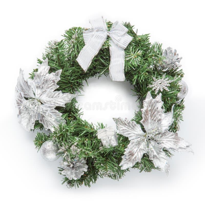 Ασημένιο στεφάνι Χριστουγέννων στοκ εικόνα με δικαίωμα ελεύθερης χρήσης