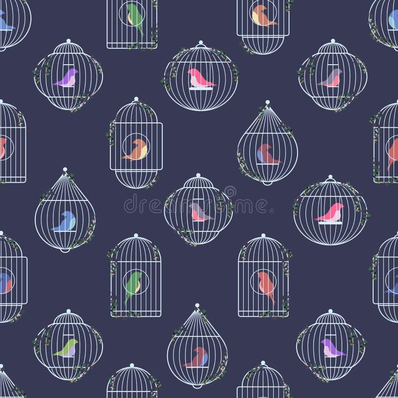 Ασημένιο σχέδιο birdcages διανυσματική απεικόνιση