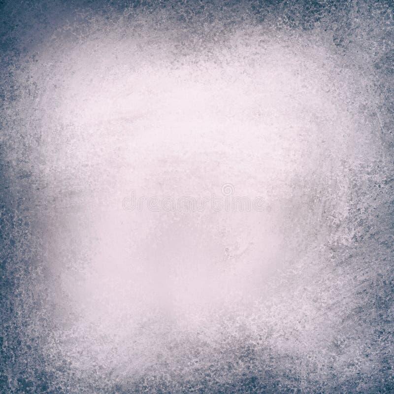 Ασημένιο υπόβαθρο με τη σύσταση grunge στα σύνορα, σκοτεινό μαύρο και μπλε πλαίσιο με το λαμπρό λευκό γκρίζο κέντρο διανυσματική απεικόνιση
