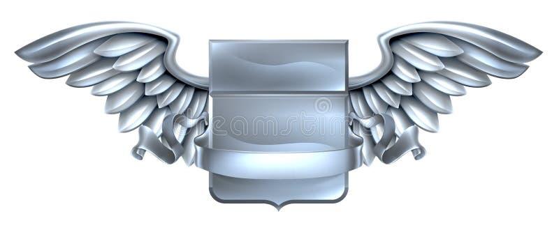 Ασημένιο φτερωτό σχέδιο κυλίνδρων ασπίδων διανυσματική απεικόνιση