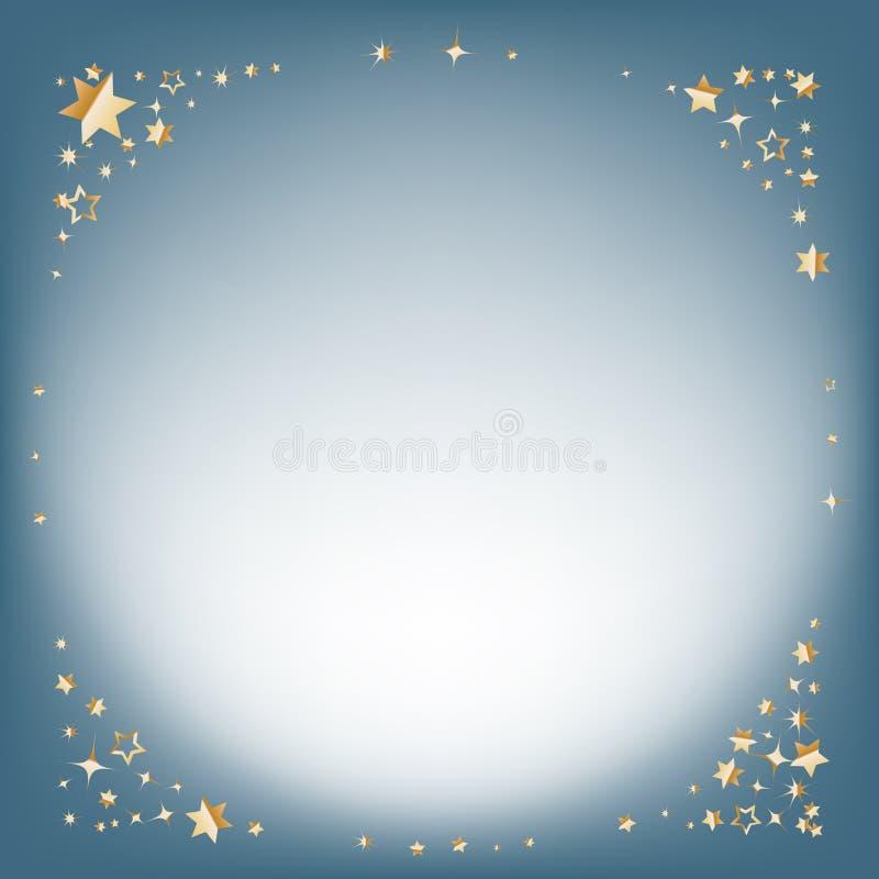 Ασημένιο χειμερινό αφηρημένο υπόβαθρο Υπόβαθρο Χριστουγέννων με τα χρυσά αστέρια και θέση για το κείμενο διάνυσμα διανυσματική απεικόνιση