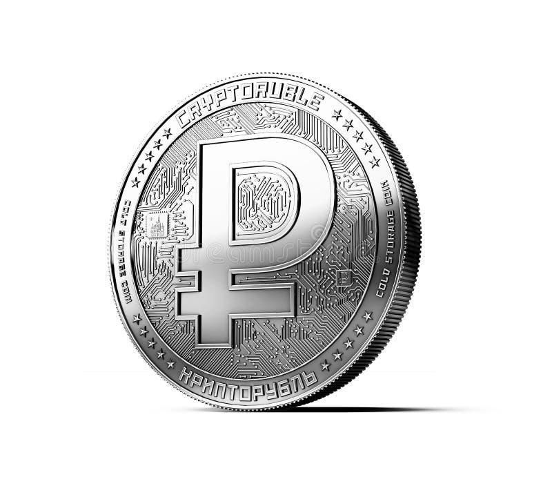 Ασημένιο crypto ενιαίο νόμισμα ρουβλιών που απομονώνεται στο άσπρο υπόβαθρο διανυσματική απεικόνιση