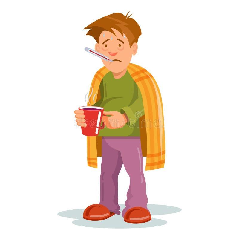Ασθένεια γρίπης Άρρωστο πρόσωπο που έχει το κρύο Ανεπαρκής πονοκέφαλος ατόμων Ιατρική για την ασθένεια Πρόσωπο ασθένειας γρίπης A ελεύθερη απεικόνιση δικαιώματος