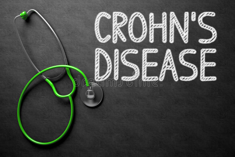 Ασθένεια Crohns - κείμενο στον πίνακα κιμωλίας τρισδιάστατη απεικόνιση απεικόνιση αποθεμάτων