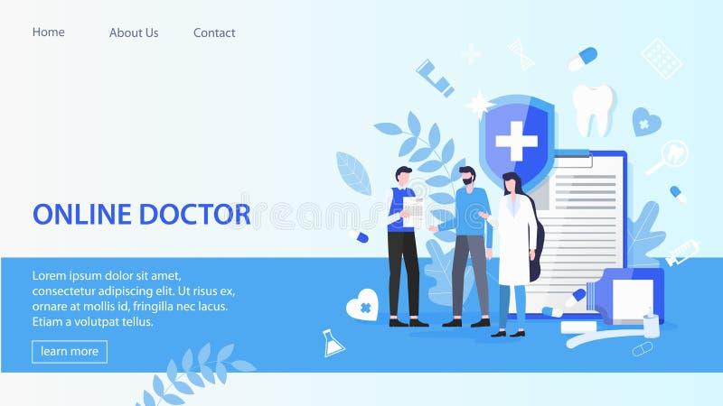 Ασθενής ανδρών με τη σε απευθείας σύνδεση υπηρεσία γιατρών γιατρών γυναικών διανυσματική απεικόνιση