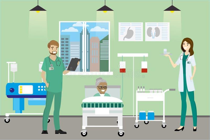 Ασθενής γιατρών, νοσοκόμων και γιαγιάδων στο δωμάτιο νοσοκομείων απεικόνιση αποθεμάτων