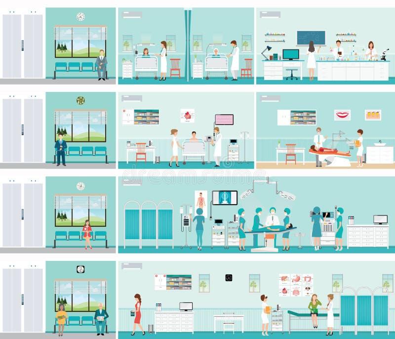 Ασθενής και γιατρός στο νοσοκομείο διανυσματική απεικόνιση