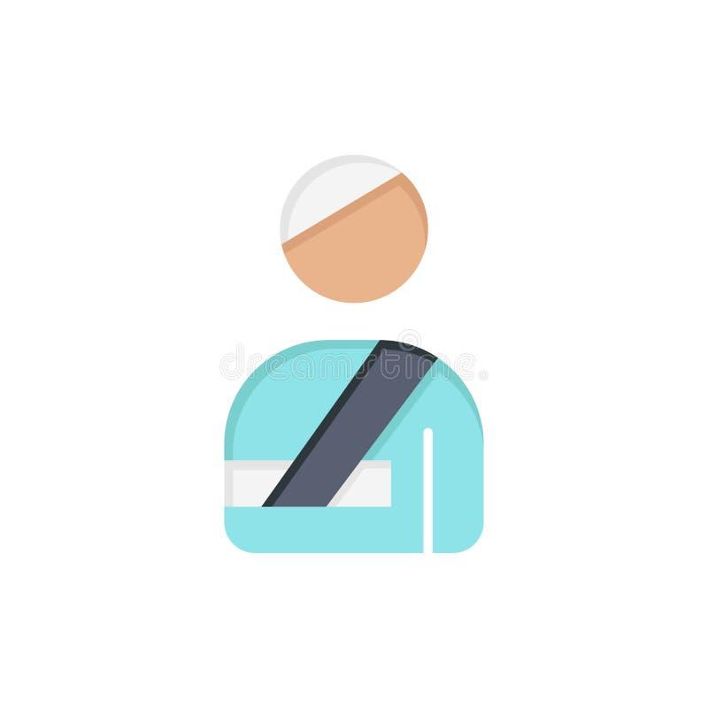 Ασθενής, χρήστης, που τραυματίζεται, επίπεδο εικονίδιο χρώματος νοσοκομείων Διανυσματικό πρότυπο εμβλημάτων εικονιδίων απεικόνιση αποθεμάτων