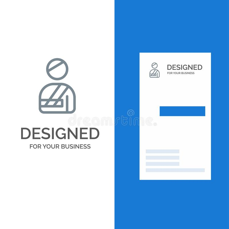 Ασθενής, χρήστης, τραυματισμένο, σχέδιο λογότυπων νοσοκομείων γκρίζο και πρότυπο επαγγελματικών καρτών διανυσματική απεικόνιση