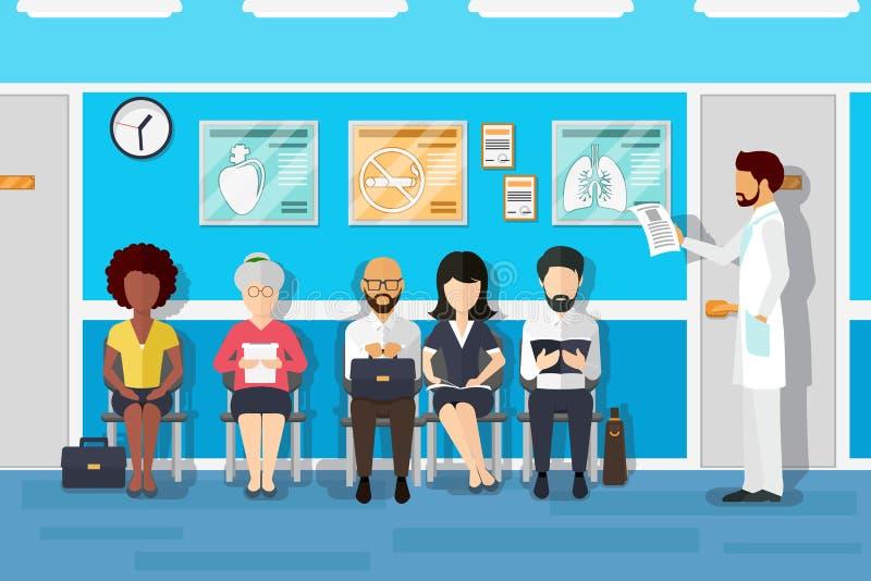 Ασθενείς στη αίθουσα αναμονής γιατρών επίσης corel σύρετε το διάνυσμα απεικόνισης ελεύθερη απεικόνιση δικαιώματος