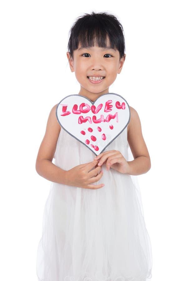 Ασιάτης λίγη κινεζική ευχετήρια κάρτα εκμετάλλευσης κοριτσιών για την ημέρα μητέρων ` s στοκ εικόνες