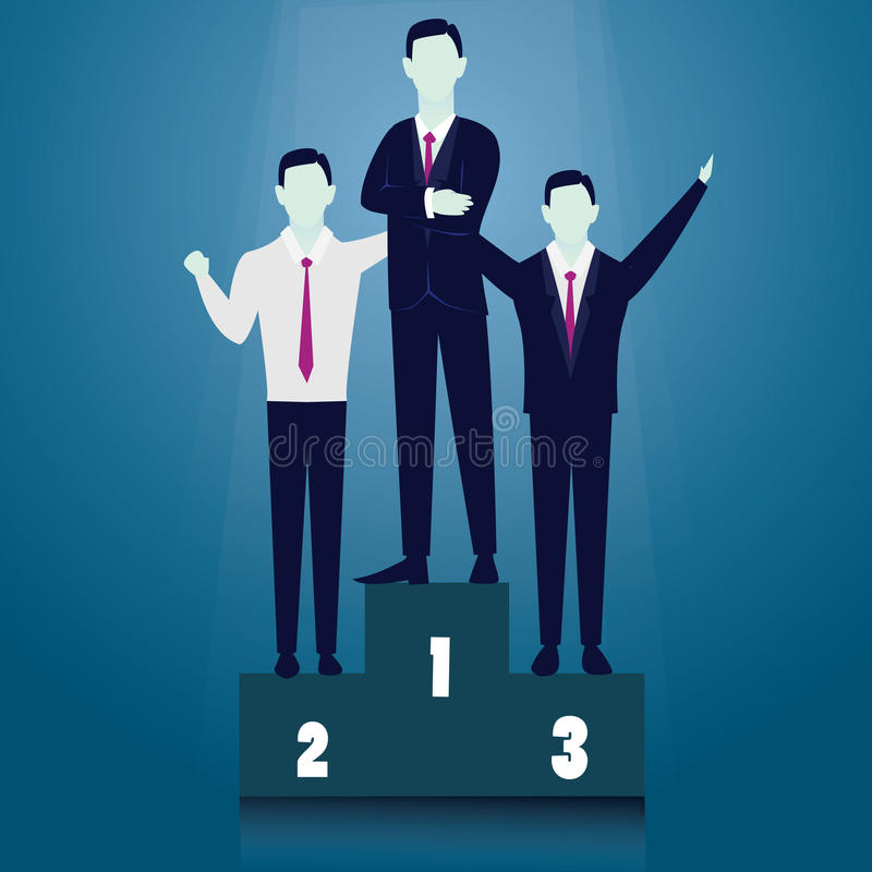 Ασιάτης πίσω από το σφυρί έννοιας ανταγωνισμού επιχειρησιακών επιχειρηματιών υπόκλισης που κρατά δύο Επιχειρηματίας νικητών απεικόνιση αποθεμάτων