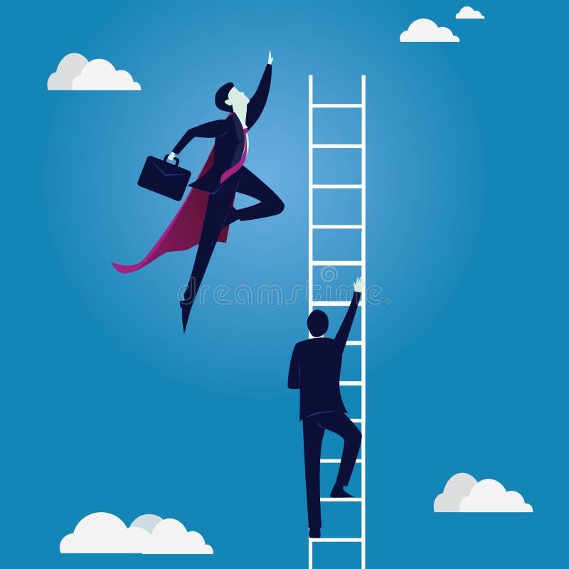 Ασιάτης πίσω από το σφυρί έννοιας ανταγωνισμού επιχειρησιακών επιχειρηματιών υπόκλισης που κρατά δύο Ο έξοχος επιχειρηματίας κτύπ διανυσματική απεικόνιση