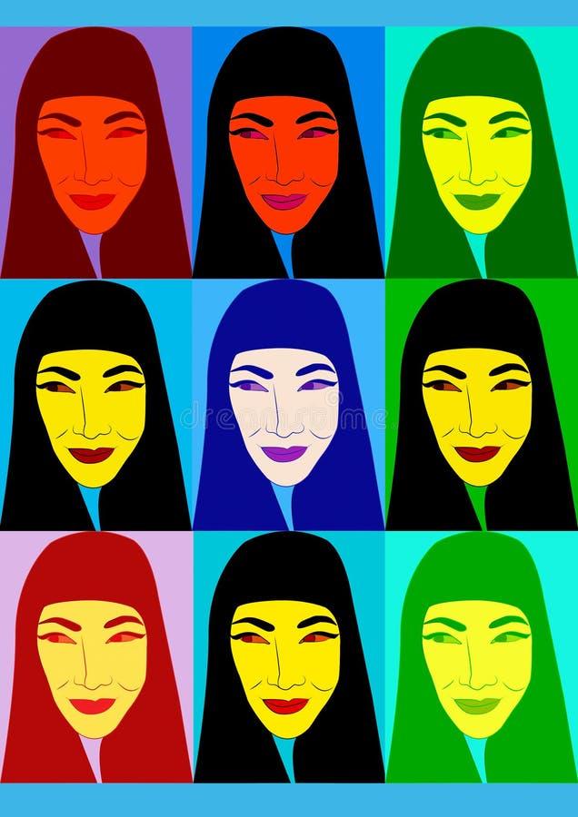Ασιατικά κινούμενα σχέδια γυναικών στοκ φωτογραφία