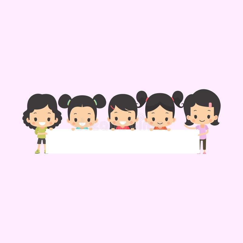 Ασιατικά κορίτσια με το κενό έμβλημα ελεύθερη απεικόνιση δικαιώματος