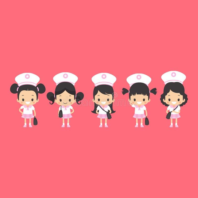 Ασιατικά κορίτσια ομοιόμορφα διανυσματική απεικόνιση