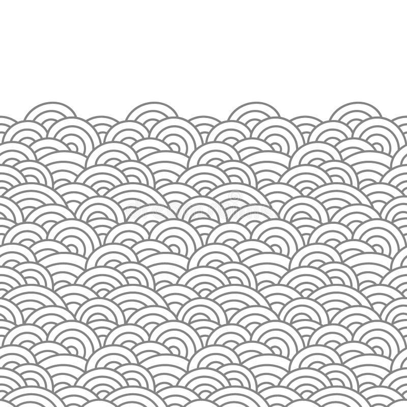ασιατικά κύματα Γραφική διακόσμηση Σύσταση δερμάτων ψαριών διανυσματική απεικόνιση