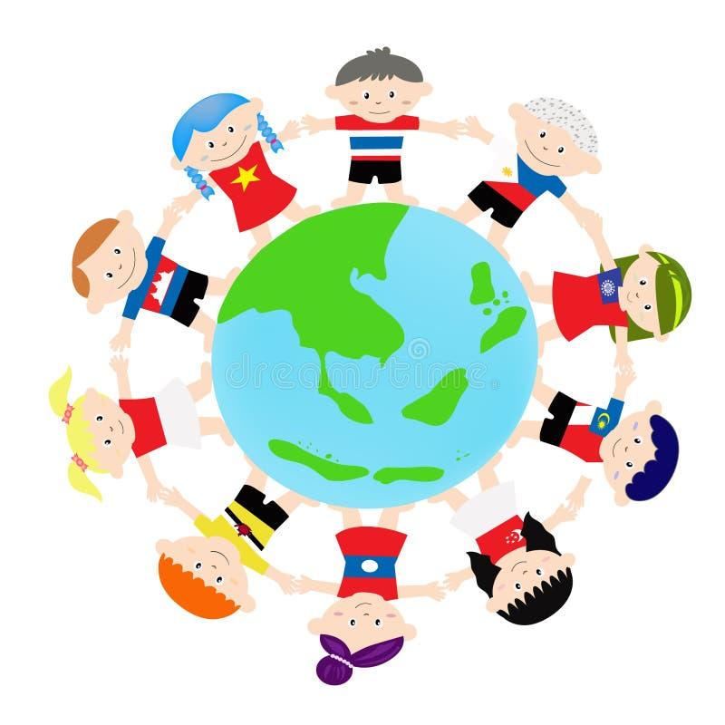 Ασιατικά παιδιά AEC σε σφαιρικό ελεύθερη απεικόνιση δικαιώματος