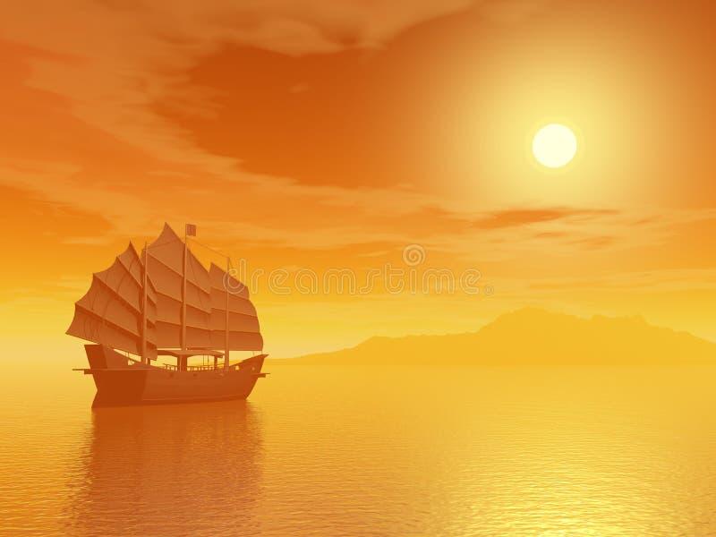 Ασιατικά παλιοπράγματα από το ηλιοβασίλεμα διανυσματική απεικόνιση