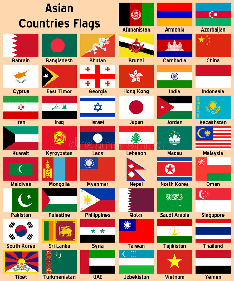 ασιατικές σημαίες χωρών απεικόνιση αποθεμάτων